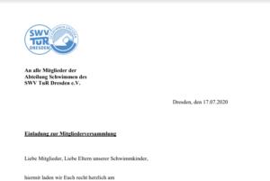 Einladung der Mitgliederversammlung Abt. Schwimmen 2020